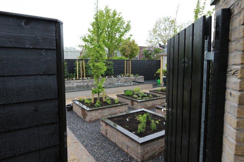 Renovatie achtertuin oude tonge tuin ontwerp - Planken zwarte ...